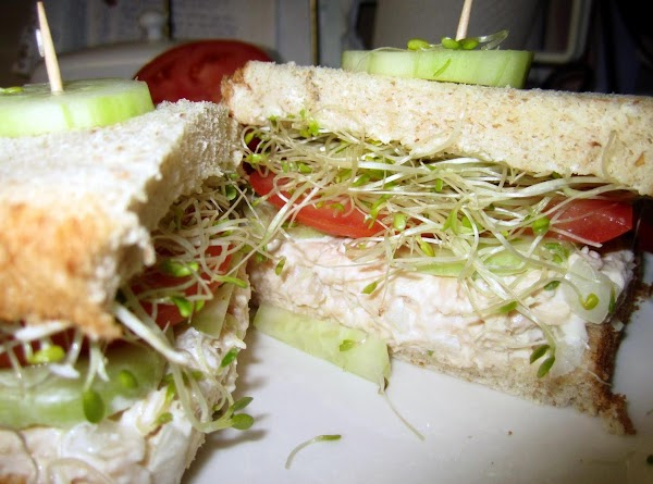 I like to cut my sandwiches in half and add a slice of cucumber...