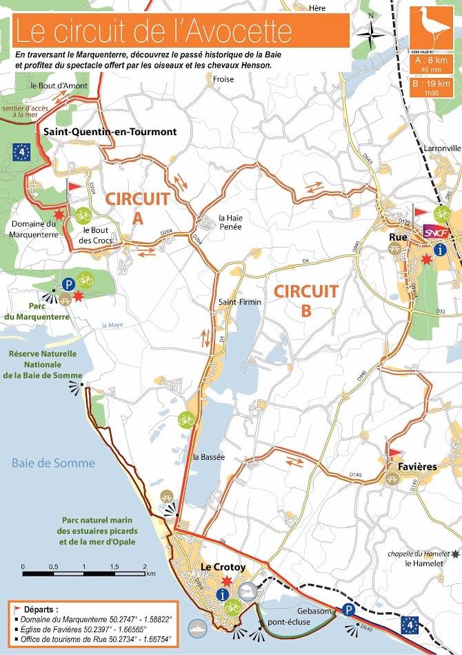 Carte du circuit à vélo de l'Avocette  - Blog Les Balades à vélo autour de La Baie de Somme par veloiledefrance.com