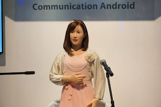 Photo: The Uncanny Valley was demonstrated by this creepy Toshiba singing robot