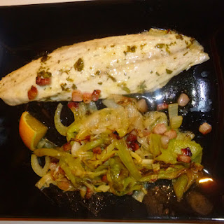 Fish Friday – Roasted Tarragon Sea Bass with Caramalised Leeks, Fennel and Pancetta Recipe