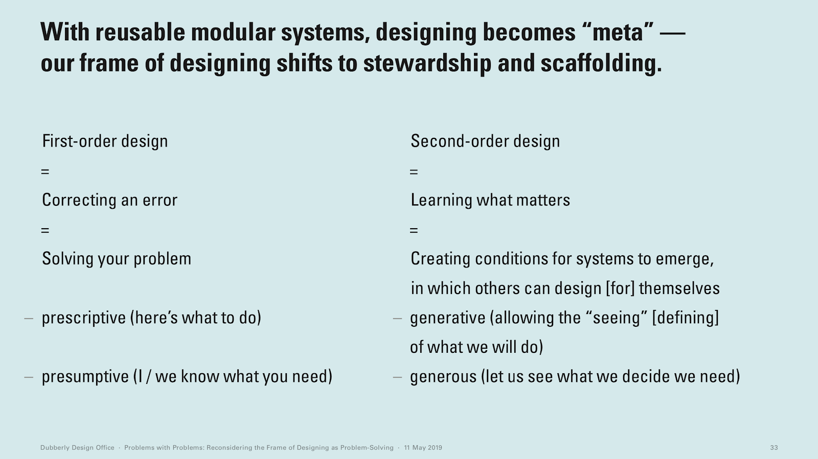 "A screenshot about reusable modular systems from ""Problems with Problems: Reconsidering the Frame of Designing as Problem-Solving"" by Hugh Dubberly."