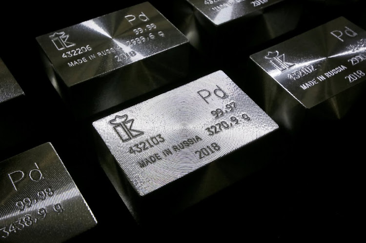 Ingots of 99.98% and 99.97% pure palladium are seen at the Krastsvetmet non-ferrous metals plant in the Siberian city of Krasnoyarsk, Russia, in this November 22 2018 file photo. Picture: REUTERS / ILYA NAYMUSHIN