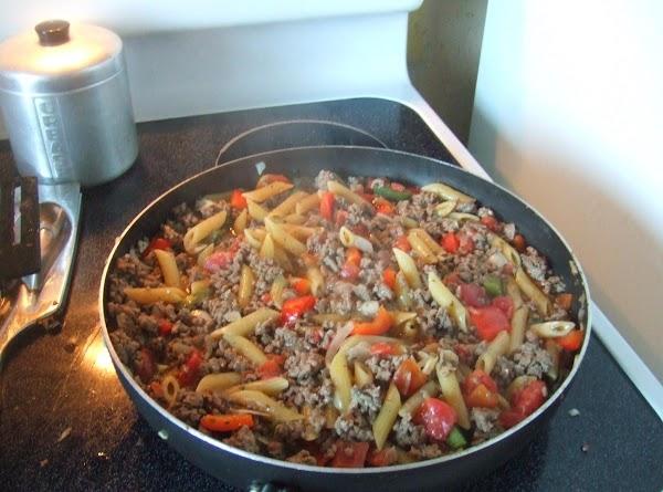 reduce heat add pasta,cover cook for 15-20 min.. uncover stir in cream cheese,let simmer for...