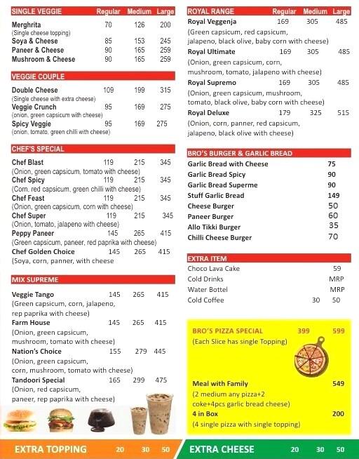 Bros Pizza & Burger menu 1
