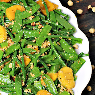 French Green Bean Salad with Persimmon and Hazelnuts