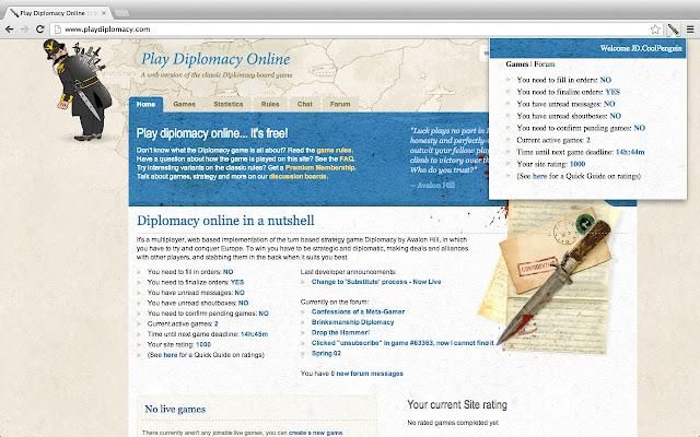 PlayDiplomacy for Google Chrome™