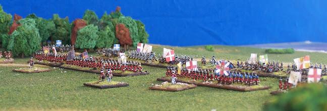 Photo: Una bella vista del campo di battaglia da sud.Miniature Baccus, materiale scenico autocostruito.