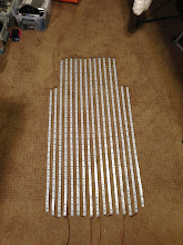Photo: Added two more strips, cut to fit under the arms. Laid out on the floor to do the first mapping test.