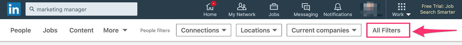 Applying filters to LinkedIn search to find the right connections.
