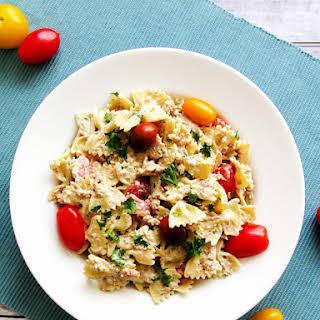 Farfalle Tuna Salad with Mustard Yogurt Dressing.