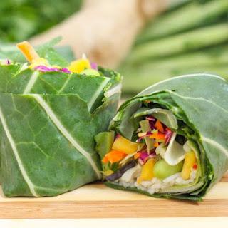 Rainbow Collard Wraps with Asian-Inspired Guacamole.