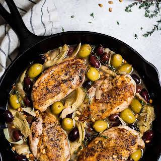 Garlic White Wine Skillet Chicken with Olives & Artichokes.