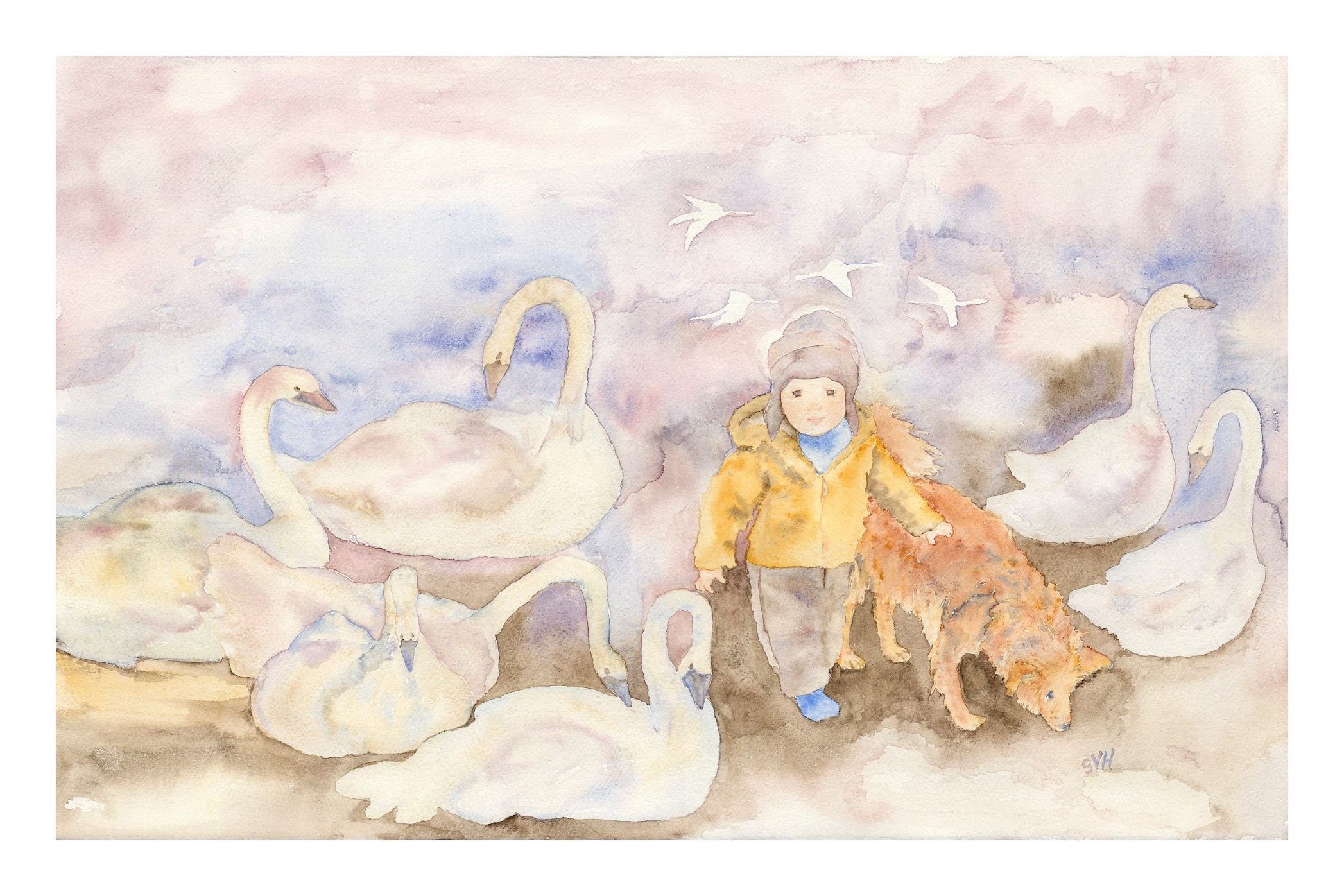 Brennen with swans and dog