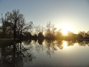 Photo: Beautiful reflection of the sunset off a pond at Eastwood Park in Dayton, Ohio.