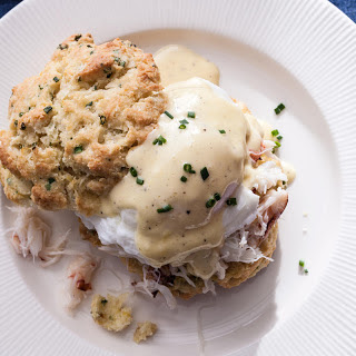 Crab Benedict on Lemon-Chive Biscuits