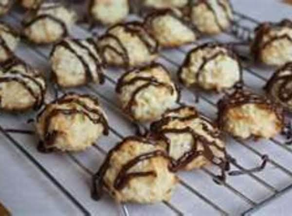 Chocolate Drizzled Coconut Cake Mix Cookies Recipe