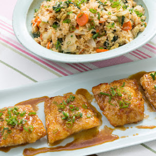 Sweet & Sour Cod with Tatsoi, Carrot & Ginger Fried Rice.