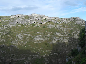 Photo: Panorama of the other side of the ravine from Matera. You can see the path we would climb that day, and the cave dwellings on the side of the hill.