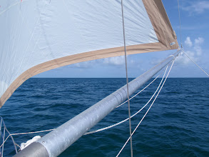 Photo: from mast to sail view of whisker pole set up