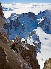 Photo: Kim on an exposed rock slab near the top of the Supercanaleta, Fitz Roy