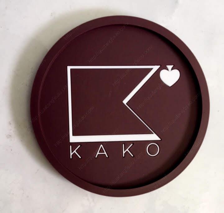 Miếng lót ly bằng nhựa dẻo quán cà phê Kako