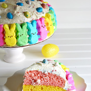 Easter PEEPS Bunnies Rainbow Cake