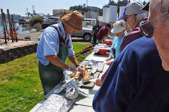 Photo: Don serves the salmon