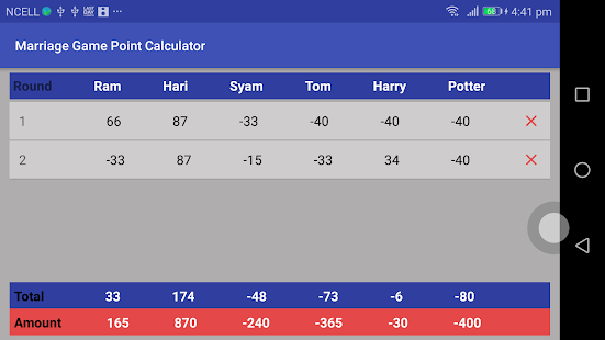 Marriage Point Calculator - náhled