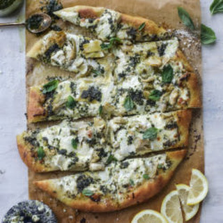 Artichoke Burrata Pizza with Lemon Basil Pesto Recipe