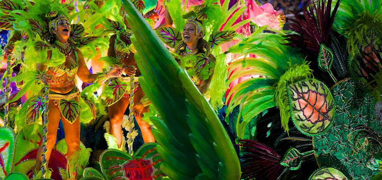 It's Carnival in Rio de Janeiro and dancers take on the colors of the rainforest.