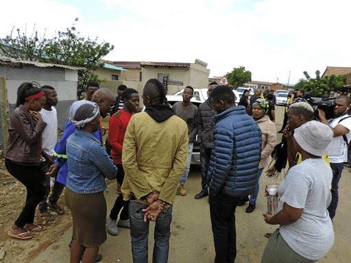 Members of the ANC Youth League and Cosas gather outside the home of the late Lethabo Nkoana in Mamelodi, east of Pretoria.