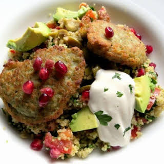 Couscous Salad with Falafel and Pomegranate.