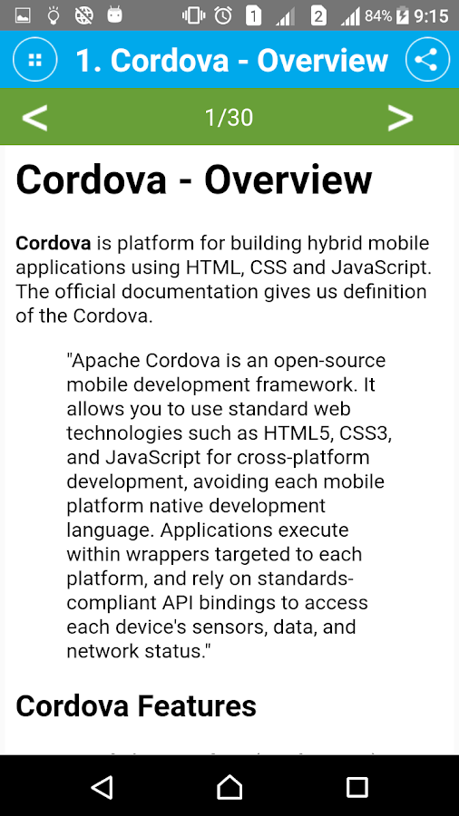 Learn Cordova- screenshot
