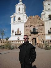 Photo: David poses at San Xavier del Bac Mission.