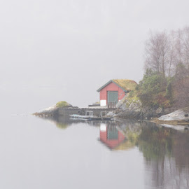 A foggy day by Knut Saglien - Landscapes Weather ( foggy, fjord, norway, water, sea, fog )