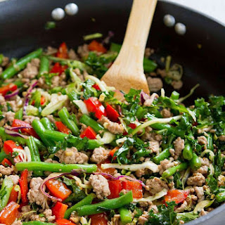 Ground Turkey Stir-Fry with Greens Beans & Kale.