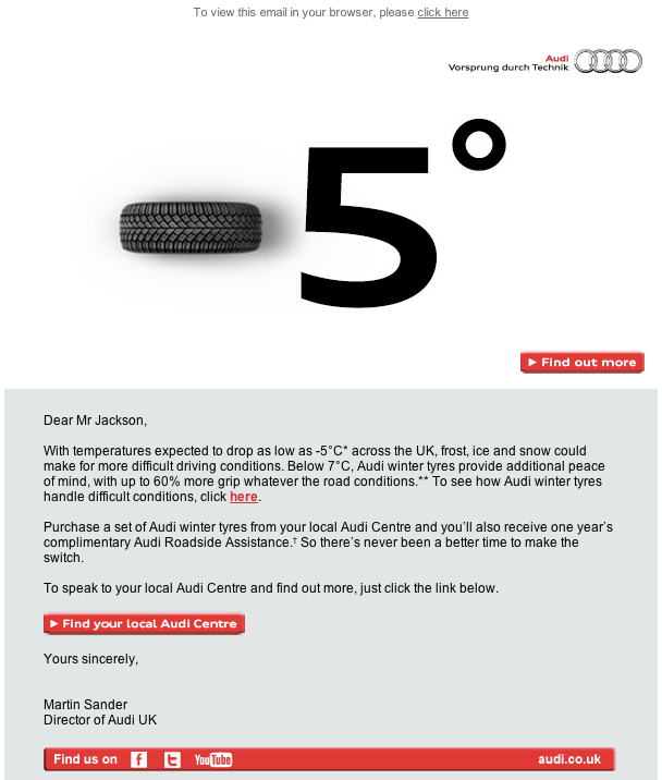 Audi cross-selling email