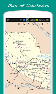 Mapa Uzbekistánu - náhled