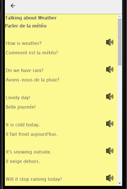 French to English: French to English Speaking Android App Screenshot