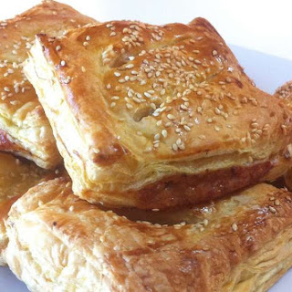 Puff Pastry Parcels recipe stuffed with Caramelised Apples and Pork Sausages.