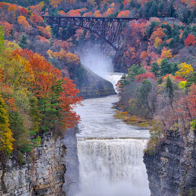 Letchworth State Park, NY by Barb Hauxwell - Landscapes Waterscapes ( letchworth, gorge, fall, falls, new york, railroad bridge, mist )