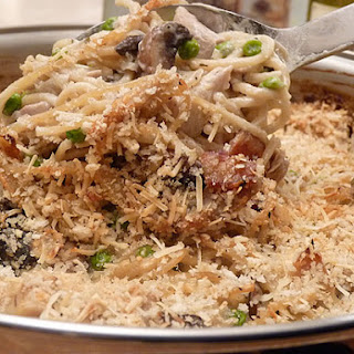 The Best Turkey Tetrazzini with Mushrooms, Bacon, Garlic and Herbs