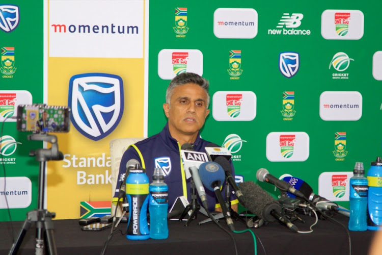 Team manager Dr. Mohammed Moosajee addresses the media regarding Imran Tahir during the South Africa national mens cricket team training session and press conference at St Georges Park on February 12, 2018 in Port Elizabeth, South Africa.
