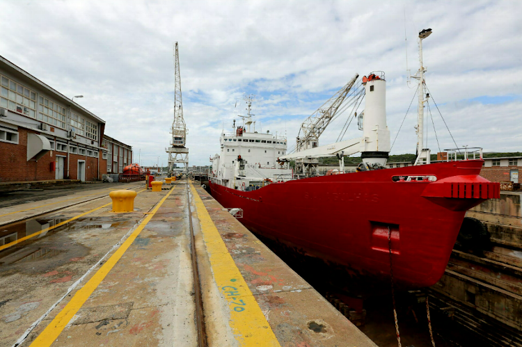 The SA Agulhas is undergoing maintenance at the Port of East London's dry dock.