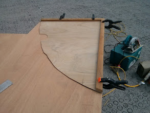 "Photo: tracing out template for bulkhead on marine grade 1/2"" plywood."