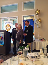 Photo: District Govenor Brent Coates, Out-going Club President Pat Northey, and Incoming Club President Joe Alemany