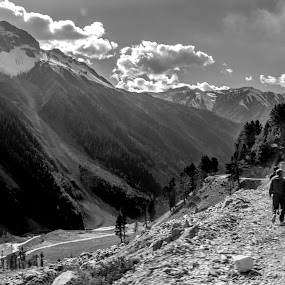 by Sudipto Ghosh - Landscapes Mountains & Hills ( hills, mountains, walking, vally, black and white, road, people )