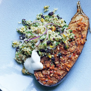 Spiced Eggplant with Bulgur Salad Recipe