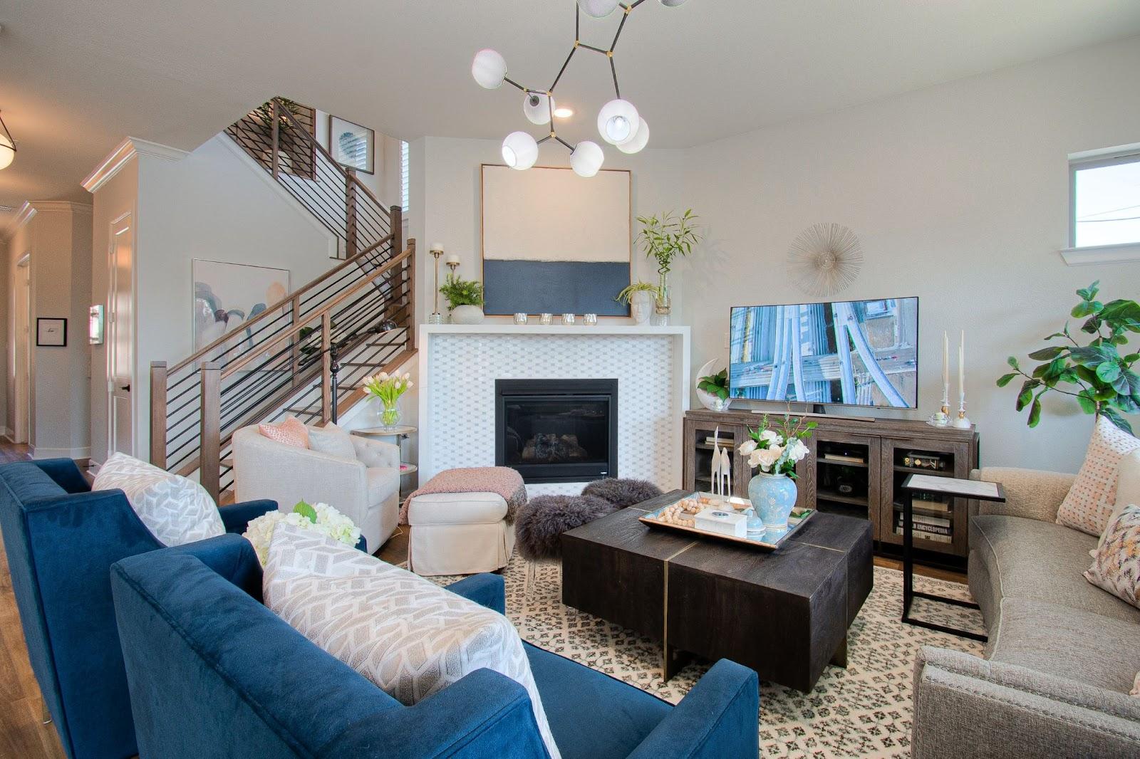 builder-grade home after custom interior design new fireplace surround tasteful timeless