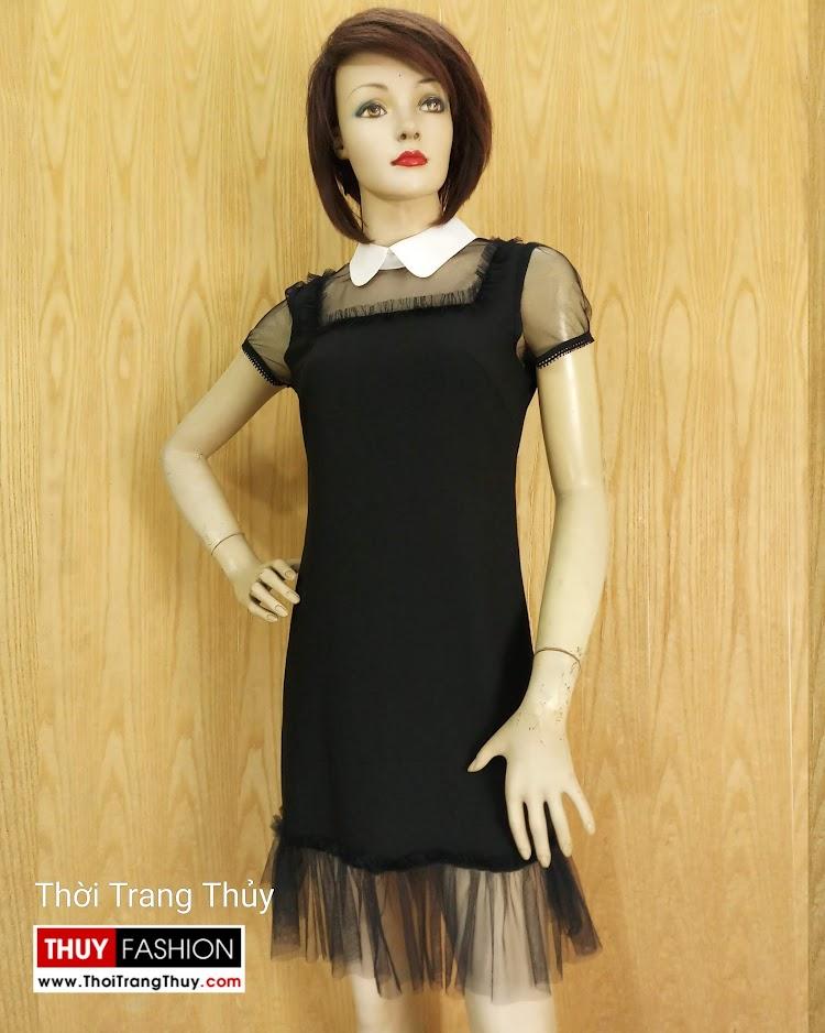 Váy suông cổ cánh sen phối ren màu đen V681 thời trang thủy hà nội